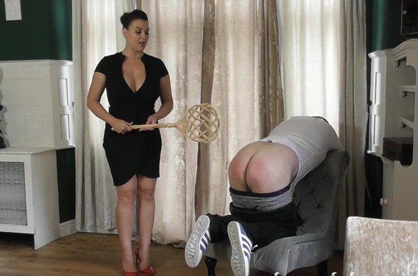 Governess Hendrix Full Force Carpet Beater Punishment Femdoom Spanking Video