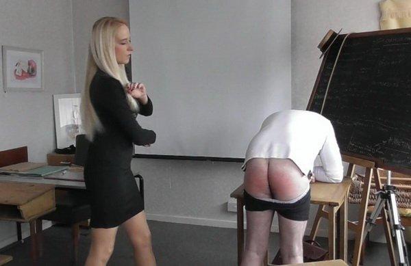 Spank him governess bare strap