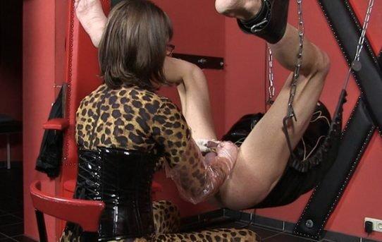 Consider, female dominatrix double dildo does