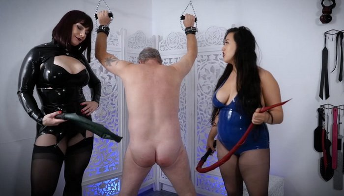 Double Domination, Double Dragontail with Andrea Untamed and Empress Jazmin Wu - Stella Liberty Femdom Video