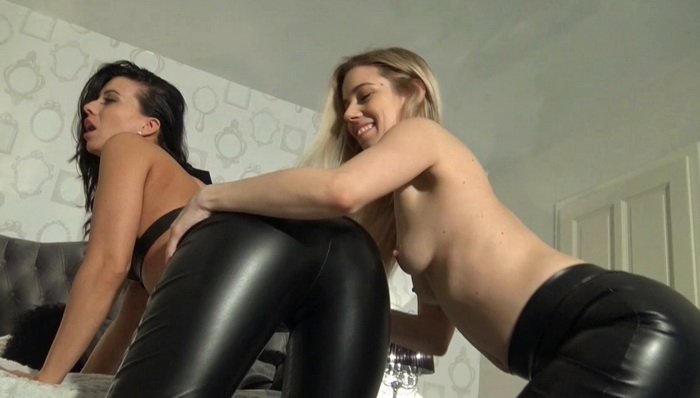 Girls and Toy, Lesbians Getting off in Leather Leggings part 1 with Nesty and Vicky Love