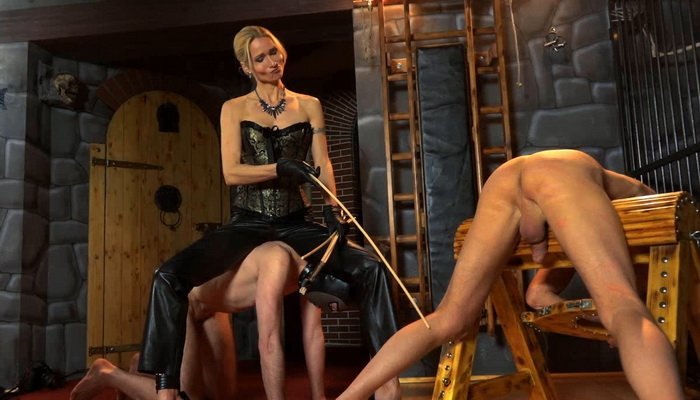 Double Slave Leather Caning Two Slaves Caned With Empress